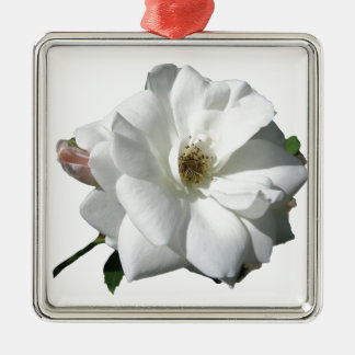 White Roses Party Shower Wedding Blossoms Destiny Silver-Colored Square Decoration