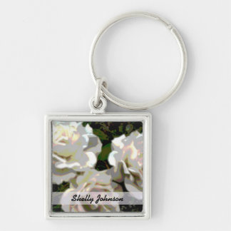White Roses Photograph Silver-Colored Square Key Ring