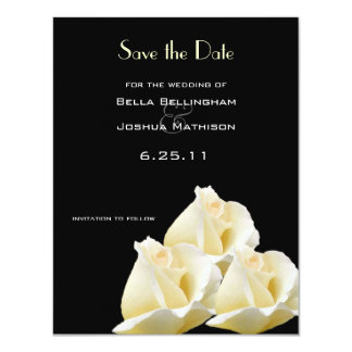 "White Roses Save the Date Announcement 4.25"" X 5.5"" Invitation Card"