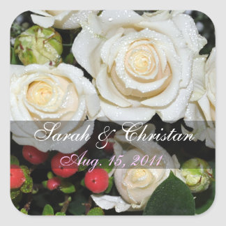 White Roses Save The Date Sticker