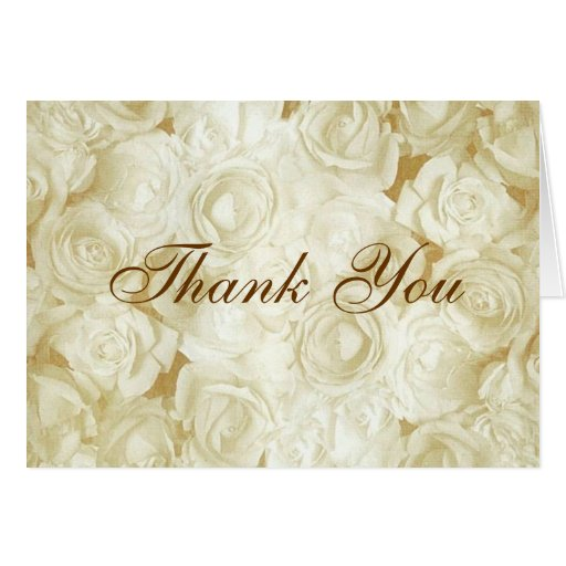 White Roses Thank You Greeting Card