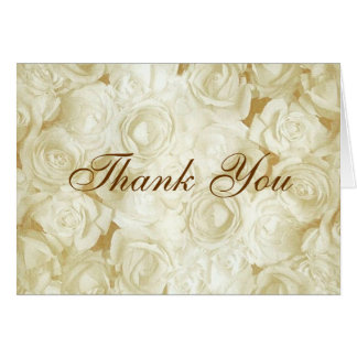 White Roses Thank You Note Card