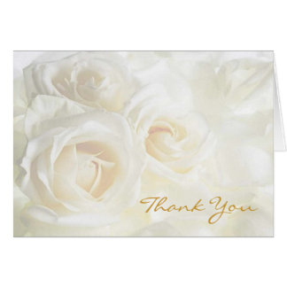 White Roses Thank You Wedding Note Card