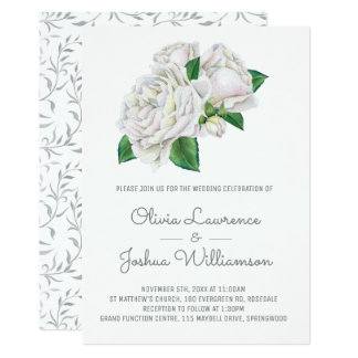 White Roses Watercolor Wedding Invitations