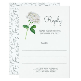White Roses Watercolor Wedding Reply Cards