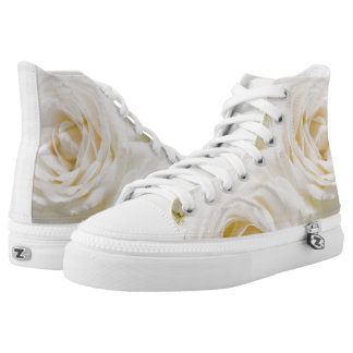 White Roses Wedding High Top Sneakers