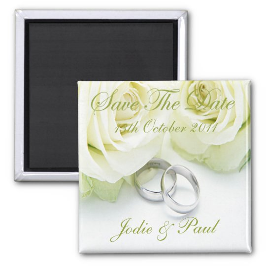 White Roses & Wedding Rings - Save The Date Square Magnet