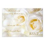 White Roses Wedding RSVP 9 Cm X 13 Cm Invitation Card