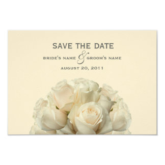 White Roses Wedding Save The Date 3.5x5 Paper Invitation Card