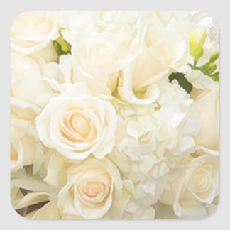 WHITE ROSES WEDDING SQARE ENVELOPE SEAL STICKERS SQUARE STICKER