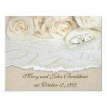 White Roses Wedding Vow Renewal 11 Cm X 14 Cm Invitation Card