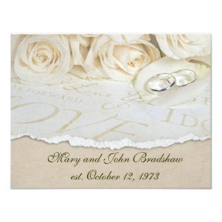 White Roses Wedding Vow Renewal Card