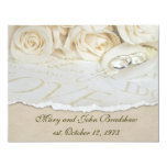 White Roses Wedding Vow Renewal 4.25x5.5 Paper Invitation Card