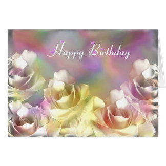 White roses with pastel effects greeting card