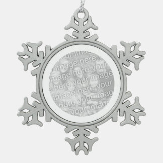 White Round Border Snowflake Pewter Christmas Ornament