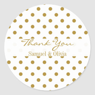White Round Custom Gold Polka Dotted Thank You Round Sticker