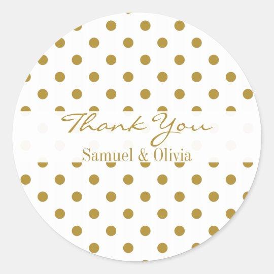 White Round Custom Gold Polka Dotted Thank You