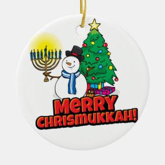 White Round Merry Chrismukkah with Snowman Round Ceramic Decoration