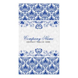 White & Royal Blue Retro Floral Damasks Pattern Pack Of Standard Business Cards