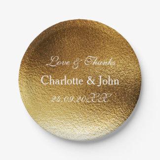 White Royal Metallic Shiny Gold Paper Plate
