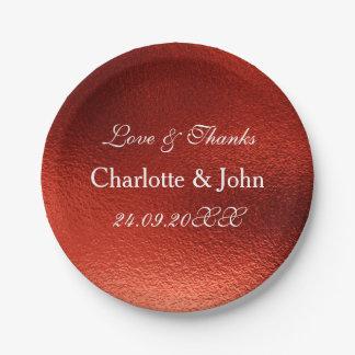 White Royal Metallic Shiny Red Paper Plate