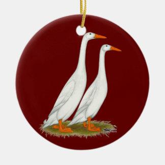 White Runner Ducks Christmas Ornament
