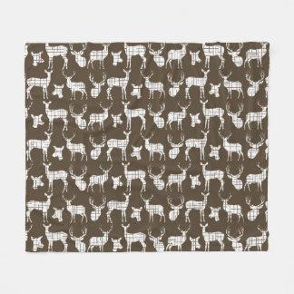 White Rustic Deer on Brown Fleece Blanket