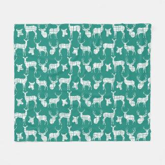 White Rustic Deer on Teal Fleece Blanket