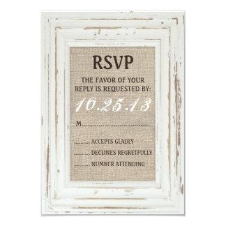 White Rustic Frame & Burlap RSVP Card 9 Cm X 13 Cm Invitation Card