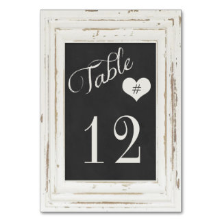 White Rustic Frame Chalk Typography Table Number