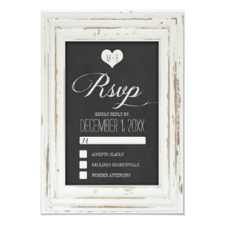 White Rustic Frame Chalk Wedding RSVP Card 2