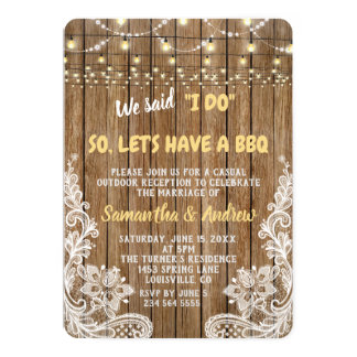 White Rustic Lace String Lights I DO BBQ Invite