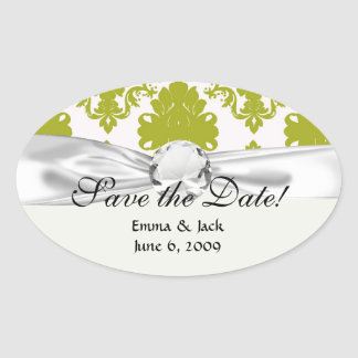 white sage romantic elegant damask oval sticker