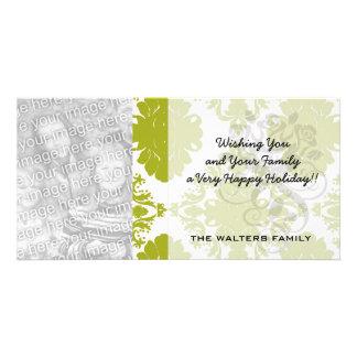 white sage romantic elegant damask customized photo card