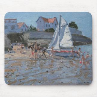 White sailboat Palais sur Mer France Mouse Mat