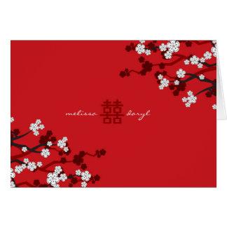 White Sakura Cherry Blossoms Chic Chinese Wedding Card