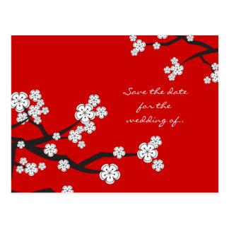 White Sakura Cherry Blossoms Save The Date Wedding Postcards
