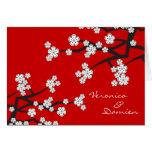 White Sakura Cherry Blossoms Wedding Thank You