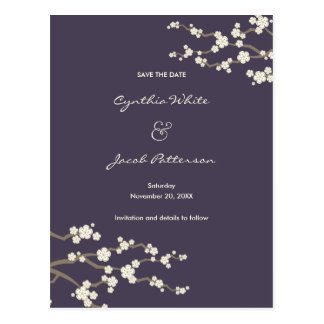 White Sakuras on Plum Save The Date Postcard
