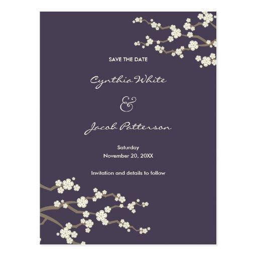 White Sakuras on Plum Save The Date Postcard