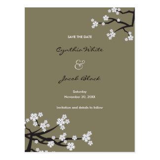 White Sakuras Save The Date Announcement Postcard