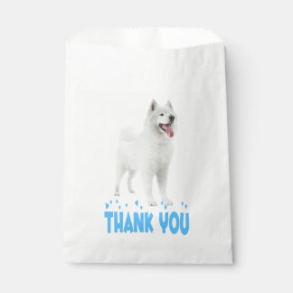 White Samoyed Puppy Dog Blue Thank You Party Favour Bags