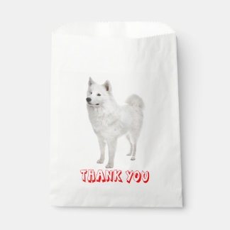 White Samoyed Puppy Dog Red Thank You Party Favour Bags