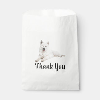 White Samoyed Puppy Dog Thank You Party Favour Bags