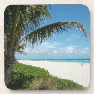 White Sand Beach w/Palm Drink Coaster