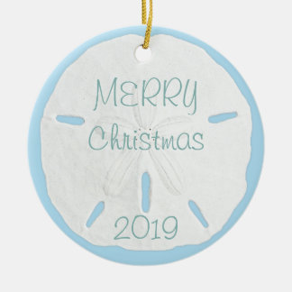 White Sand Dollar on Blue Tropical Christmas Christmas Ornament