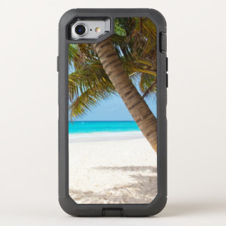 White Sand Tropical Palm Tree Turquoise Water OtterBox Defender iPhone 8/7 Case
