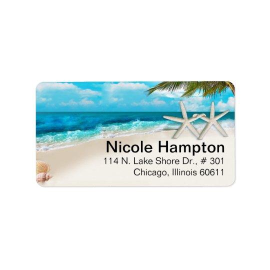 White Sands Beach Starfish Couple Label