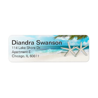 White Sands Beach Starfish Couple Return Address Label