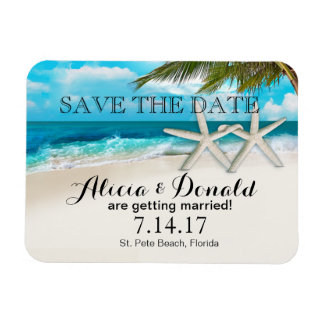 White Sands Beach Starfish Couple Save the Date Rectangular Photo Magnet